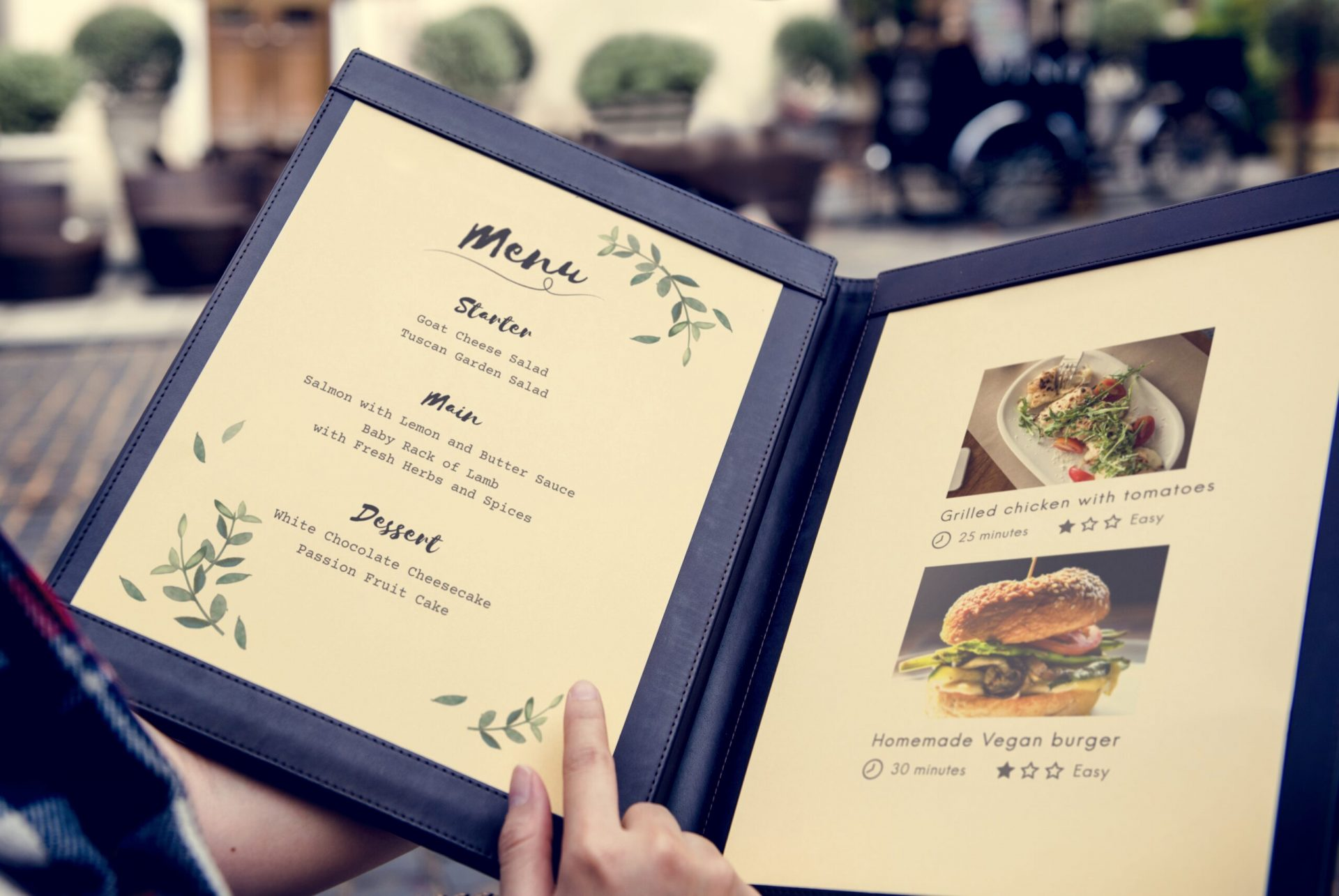 open restaurant menu